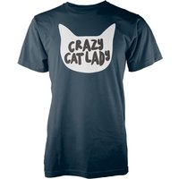 Crazy Cat Lady Navy T-Shirt - L - Navy from T-Junkie