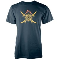 Crossed Flaming Skateboard Navy T-Shirt - L - Navy from T-Junkie