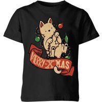 Tobias Fonseca Merry Xmas Cat Kids' T-Shirt - Black - 5-6 Years - Black from TOBIAS FONSECA