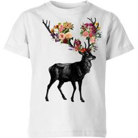 Spring Itself Deer Floral Kids' T-Shirt - White - 3-4 Years - White from TOBIAS FONSECA