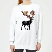 Spring Itself Deer Floral Women's Sweatshirt - White - S - White from TOBIAS FONSECA