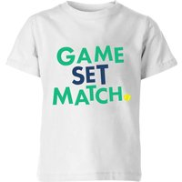 Game Set Match Kids' T-Shirt - White - 5-6 Years - White from The Tennis Collection