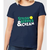 Strawberries and Cream Women's T-Shirt - Navy - S - Navy from The Tennis Collection