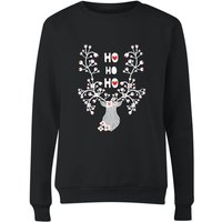 Ho Ho Ho Reindeer Women's Sweatshirt - Black - 5XL - Black from The Christmas Collection