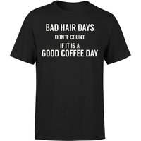 Bad Hair Days Don't Count T-Shirt - Black - L - Black from The Coffee Collection