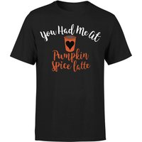 You Had me at Pumpkin Spice Latte T-Shirt - Black - L - Black from The Coffee Collection