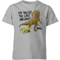 Did You Eat The Last Unicorn? Kids' T-Shirt - Grey - 3-4 Years - Grey from The Dinosaur Collection