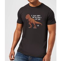 If You're Happy And You Know It Men's T-Shirt - Black - L - Black from The Dinosaur Collection