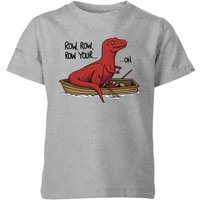 Row Row Row Your Boat Kids' T-Shirt - Grey - 5-6 Years - Grey from The Dinosaur Collection
