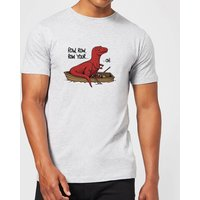 Row Row Row Your Boat Men's T-Shirt - Grey - L - Grey from The Dinosaur Collection