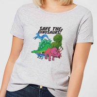 Save The Dinosaurs Women's T-Shirt - Grey - L - Grey from The Dinosaur Collection