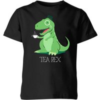 Tea Rex Kids' T-Shirt - Black - 7-8 Years - Black from The Dinosaur Collection