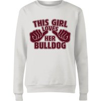 This Girl Loves Her Bulldog Women's Sweatshirt - White - M - White from The Pet Collection