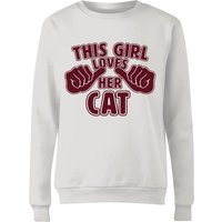 This Girl Loves Her Cat Women's Sweatshirt - White - XXL - White from The Pet Collection