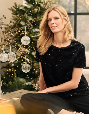 Flocked Sequin Top from The White Company