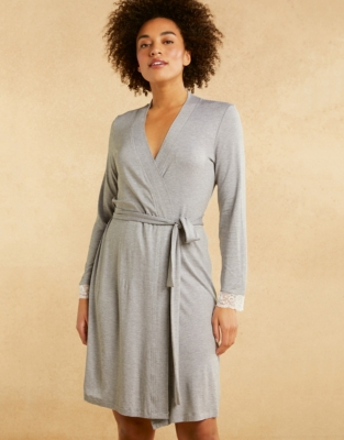 Jersey Stripe Lace Trim Robe from The White Company