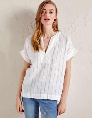 Linen Stripe Notch Neck Top from The White Company