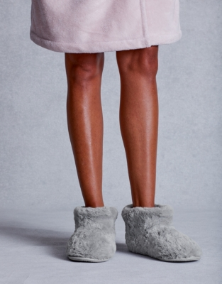 Textured Faux-Fur Slipper Boots from The White Company