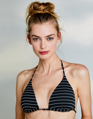 Textured Stripe Bikini Top from The White Company