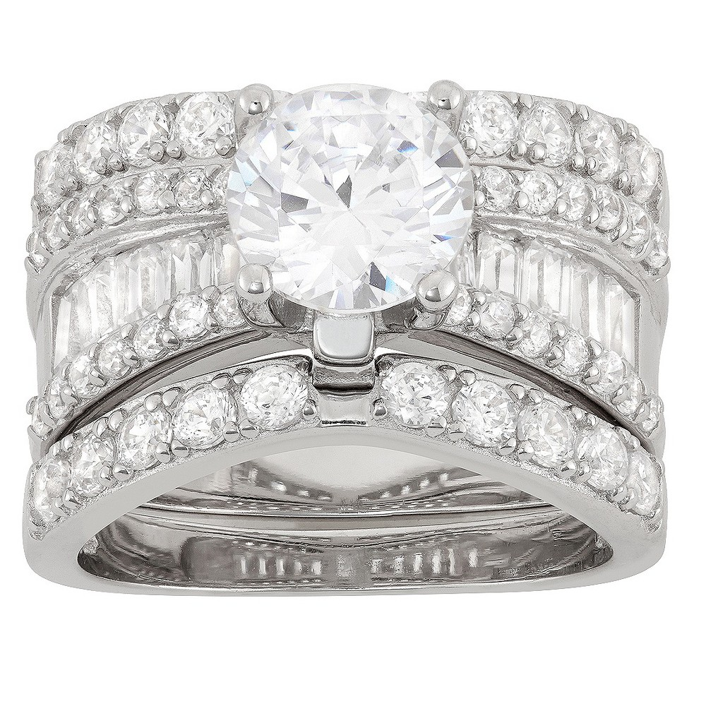 3.91 CT. T.W. 8mm Round-Cut Cubic Zirconia with Baguette Side Stones 3-Piece Ring Set In Sterling Silver - (8) from Tiara