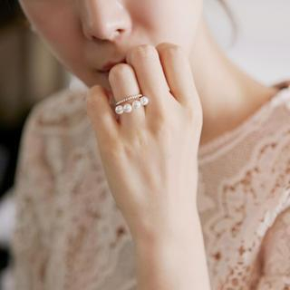 Faux-Pearl Layered Open Ring from Ticoo