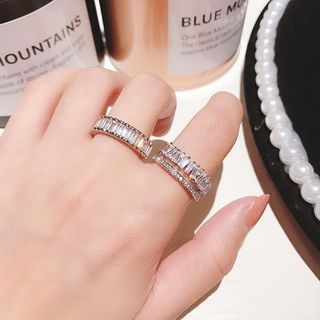 Rhinestone Alloy Open Ring from Ticoo