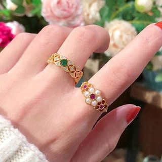 Rhinestone Open Ring / Set from Ticoo