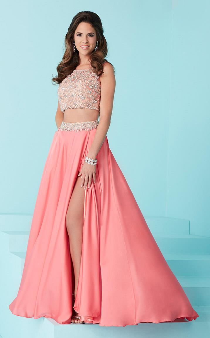 Tiffany Designs - 16212 Two-Piece Long Prom Dress with Beaded Illusion Top from Tiffany Designs