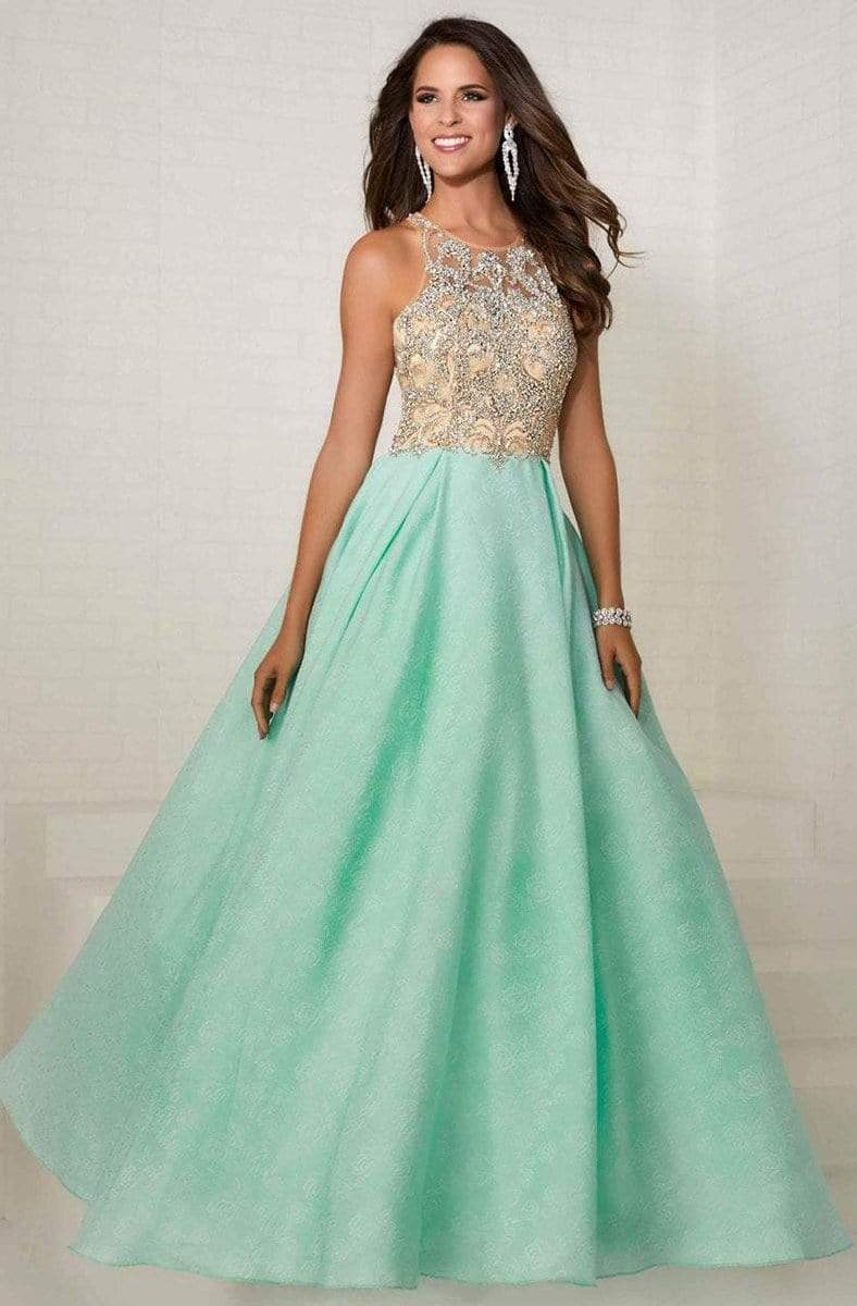 Tiffany Designs - 16289 Bejeweled Illusion Halter Brocade Ballgown from Tiffany Designs