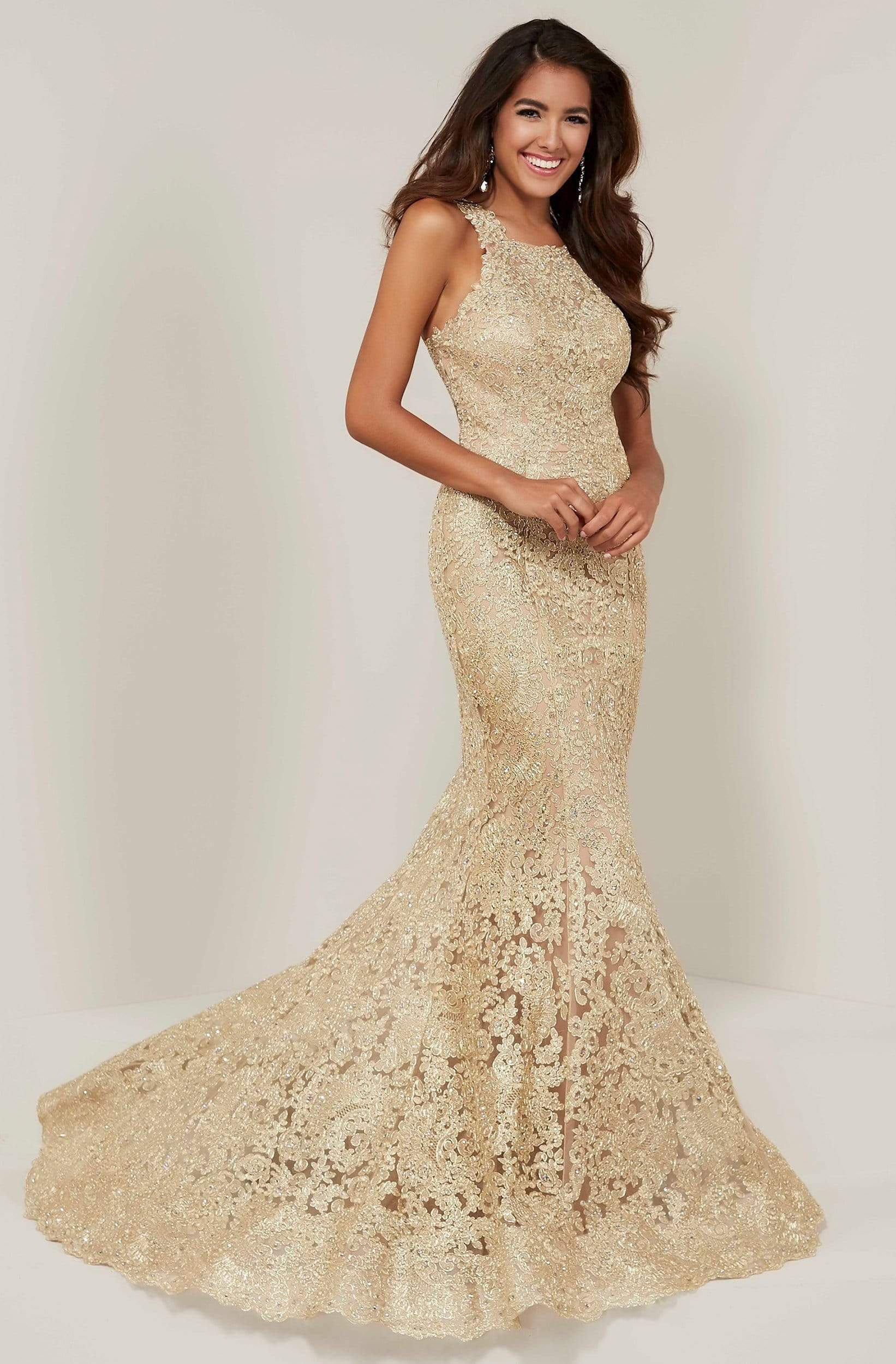 Tiffany Designs - 16329 Metallic Embroidered Halter Mermaid Dress from Tiffany Designs