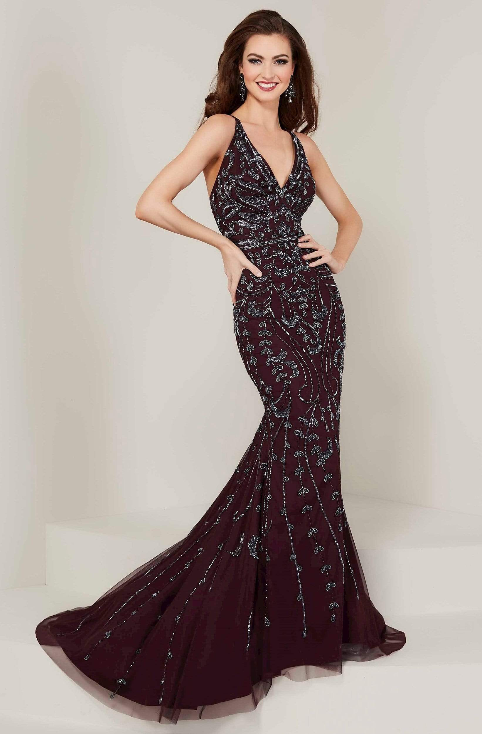 Tiffany Designs - 16349 Strappy Beaded V-Neck Mermaid Gown from Tiffany Designs