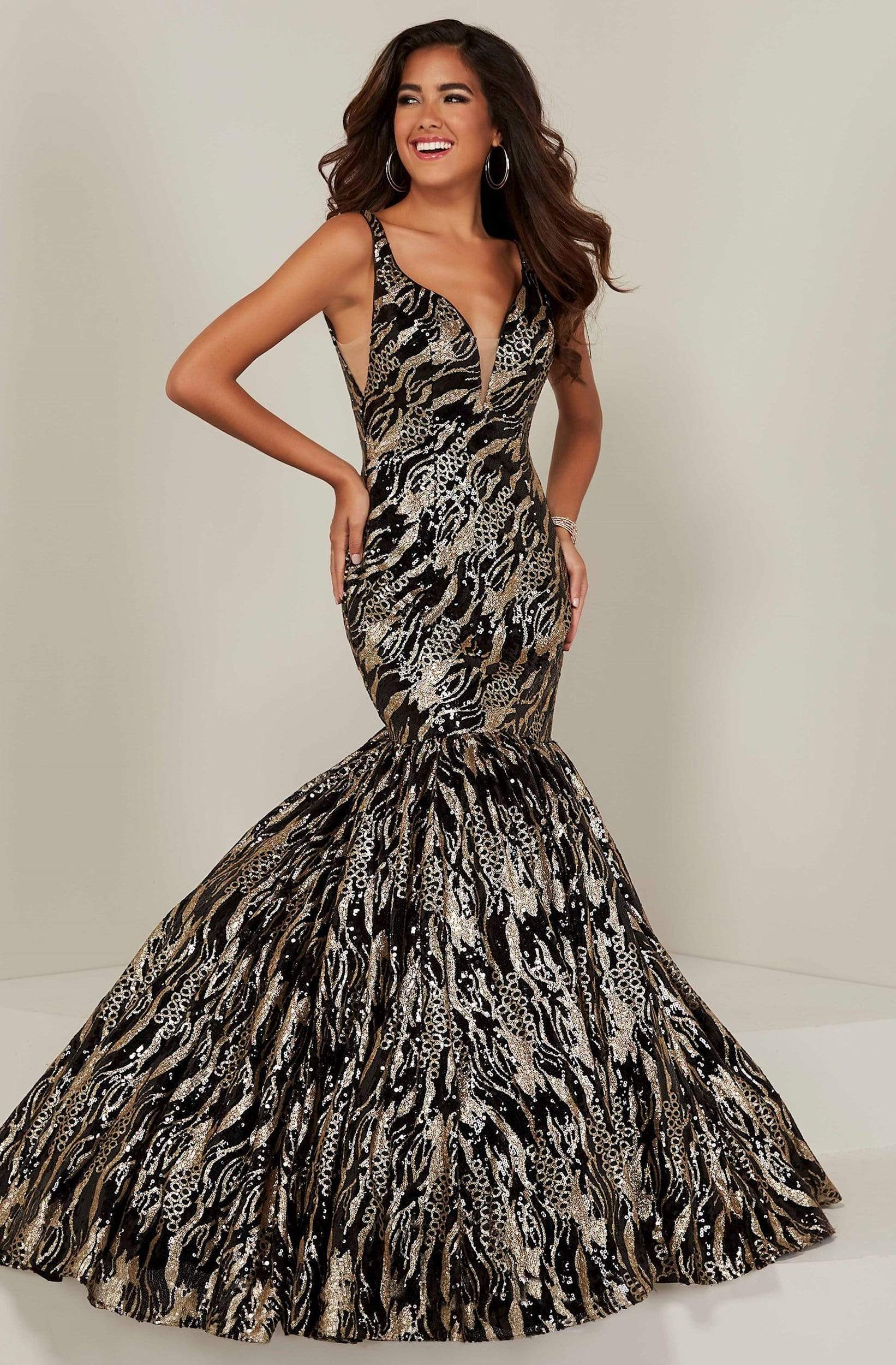 Tiffany Designs - 16361 Sequined Motif Plunging Trumpet Gown from Tiffany Designs