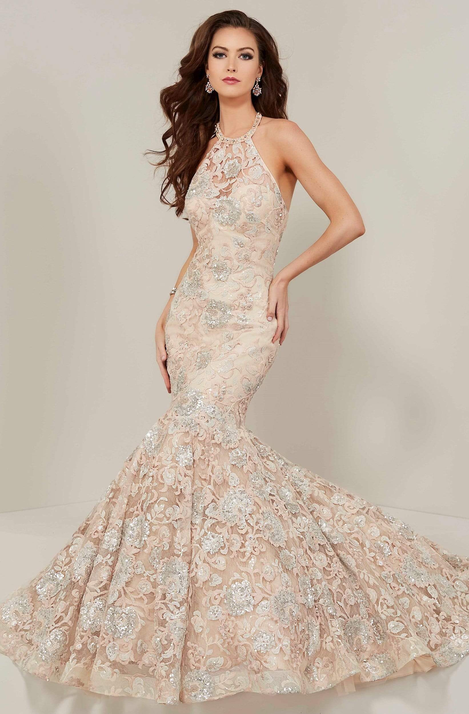 Tiffany Designs - 16366 Floral Sequined Illusion Halter Mermaid Gown from Tiffany Designs