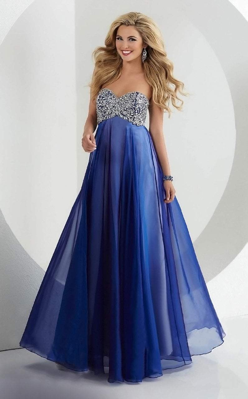 Tiffany Designs - 46048 Crystal Flourished Empire Long Evening Gown from Tiffany Designs