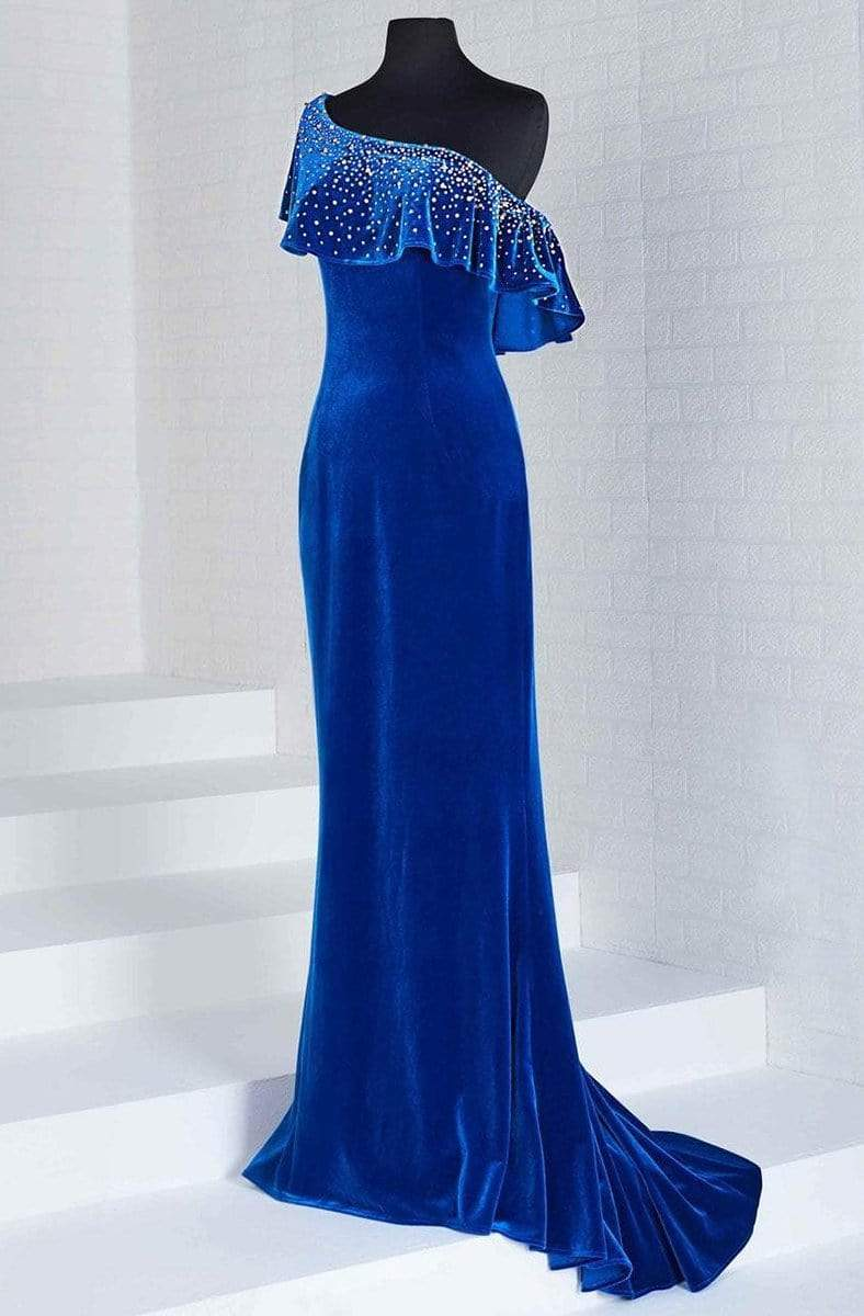 Tiffany Designs - 46125 Embellished Asymmetric Velvet Trumpet Dress from Tiffany Designs
