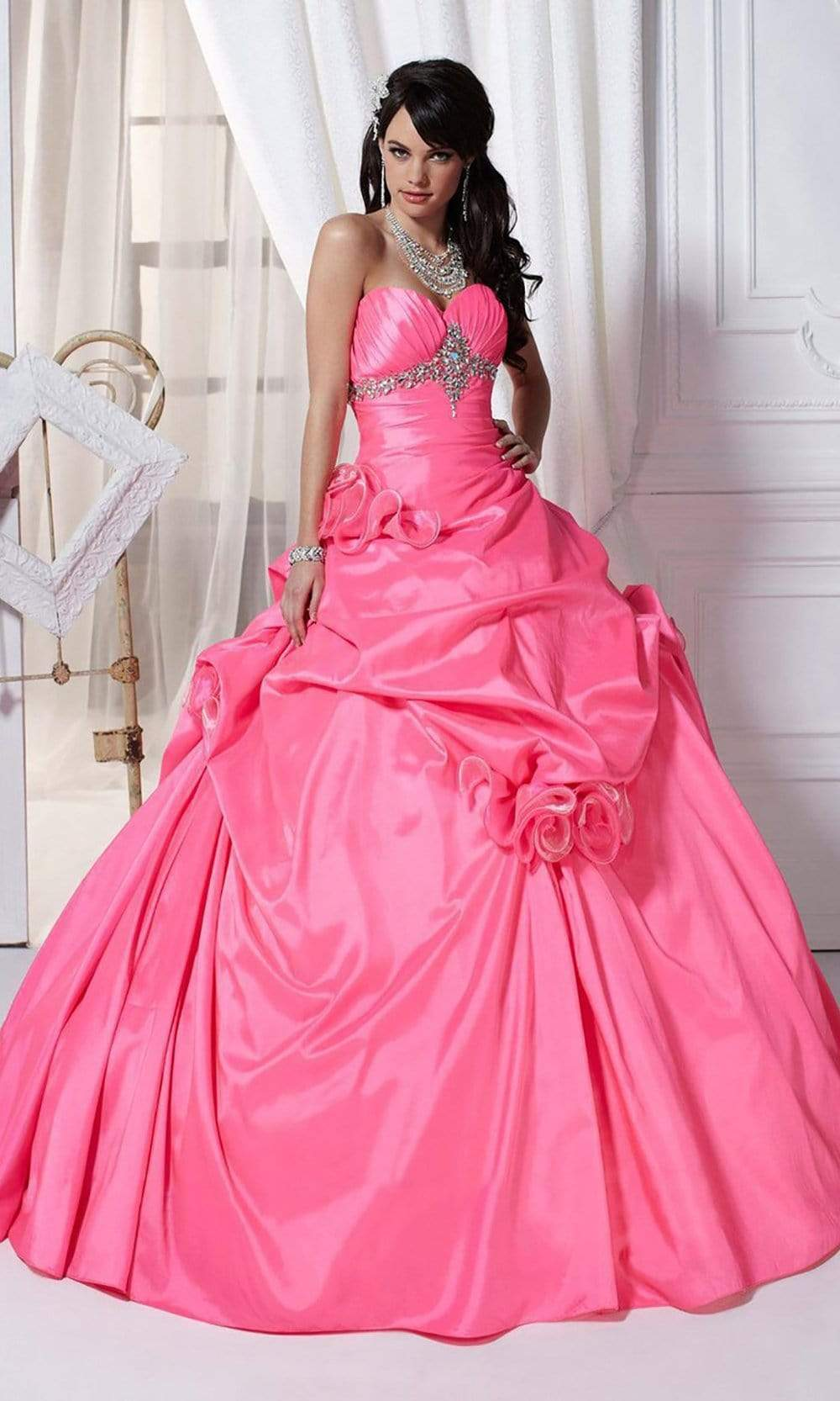 Tiffany Designs - 56216 Rosette Accented Strapless Ballgown from Tiffany Designs