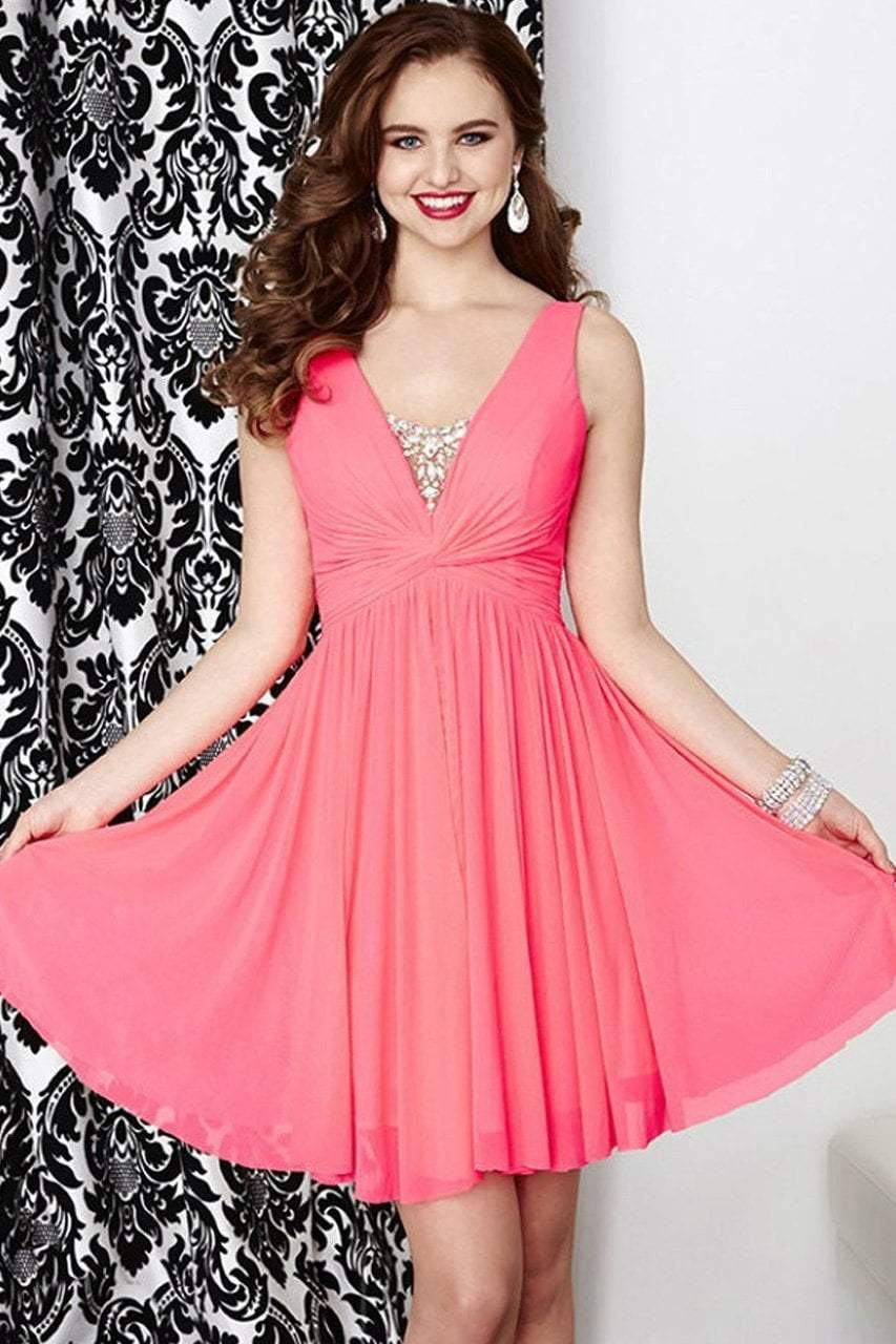 Tiffany Homecoming - 27057 Elegant V- Neckline Flowy Dress from Tiffany Homecoming