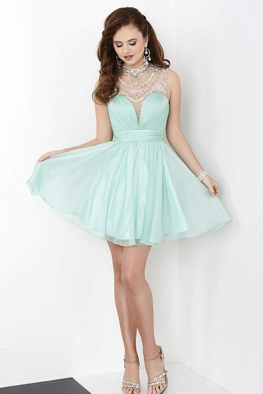 Tiffany Homecoming - 27059 Embellished Neckline Short Chiffon Dress from Tiffany Homecoming