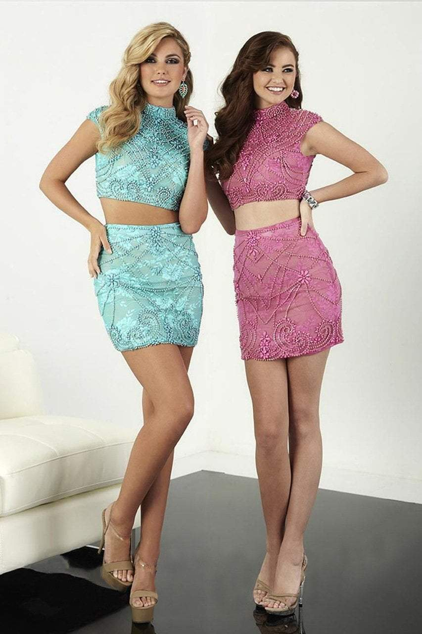 Tiffany Homecoming - 27078 Beaded Two Piece High Neck Sheath Cocktail Dress from Tiffany Homecoming