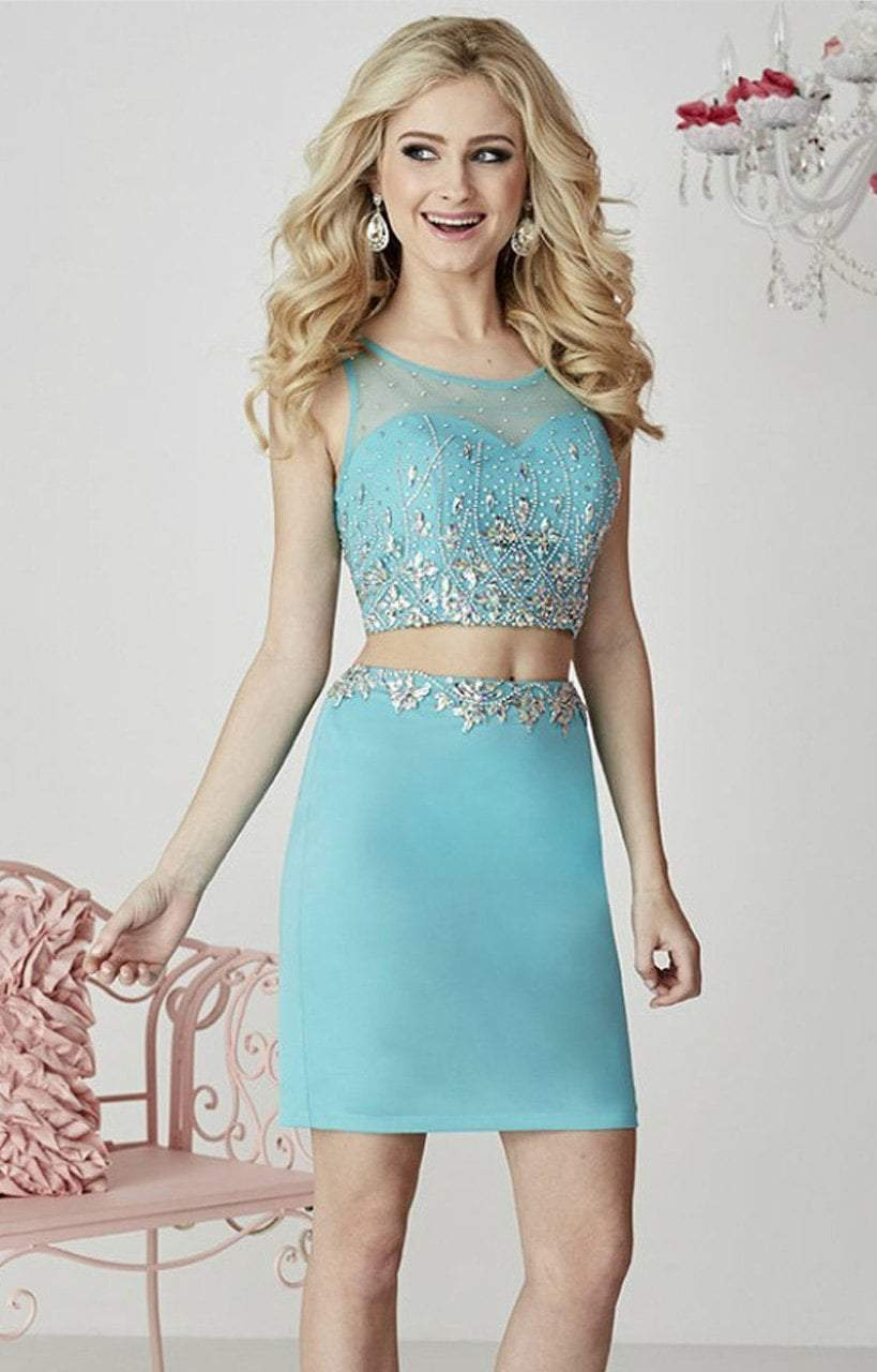 Tiffany Homecoming - 27104 Two-Piece Rhinestone-encrusted Illusion Sweetheart Jersey Pencil Dress from Tiffany Homecoming