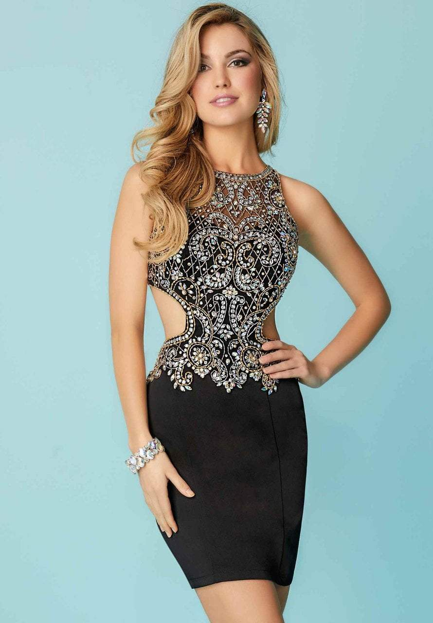 Tiffany Homecoming - 27157 Bedazzled Illusion Neck Jersey Sheath Dress from Tiffany Homecoming