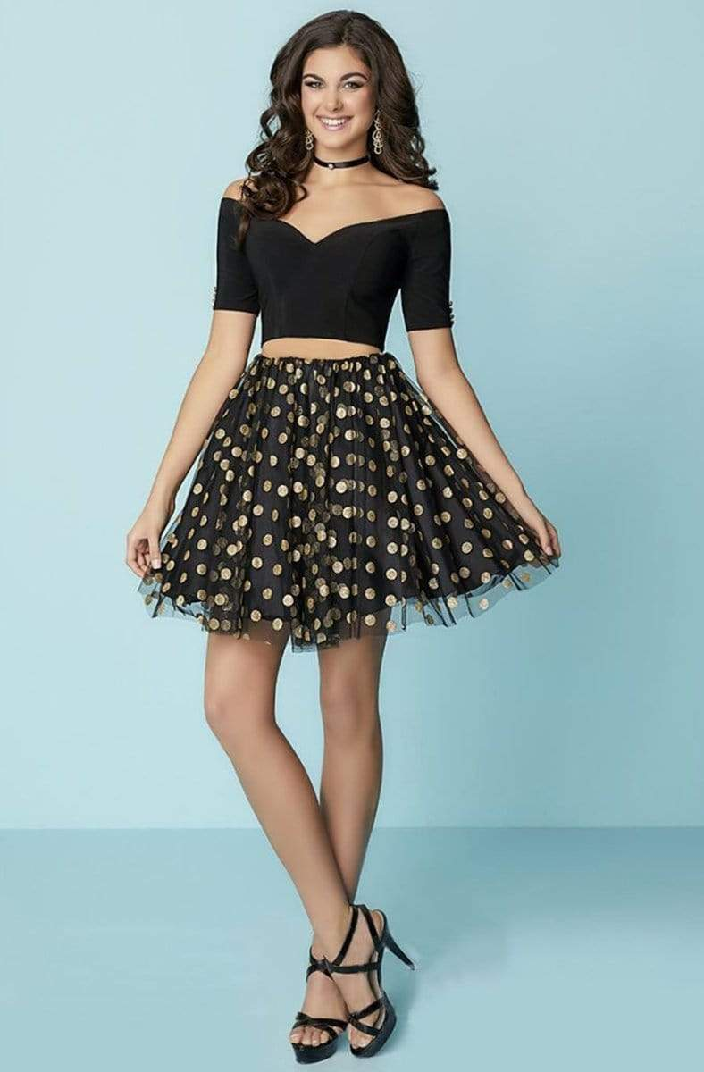 Tiffany Homecoming - 27166 Two-Piece Off-Shoulder Polka Dot Party Dress from Tiffany Homecoming