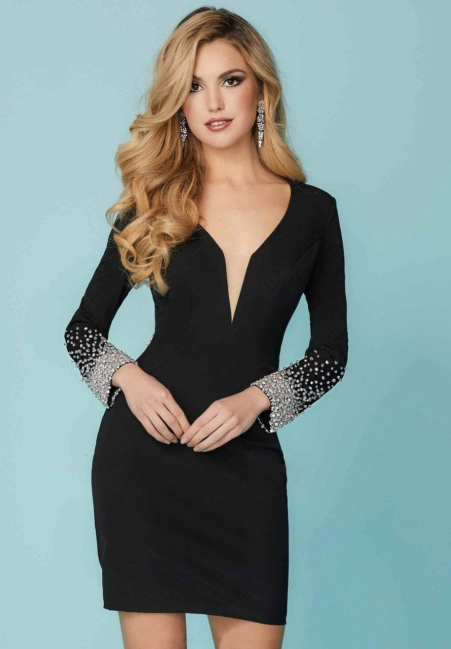 Tiffany Homecoming - 27183 Jeweled Deep V-neck Crepe Fitted Dress from Tiffany Homecoming