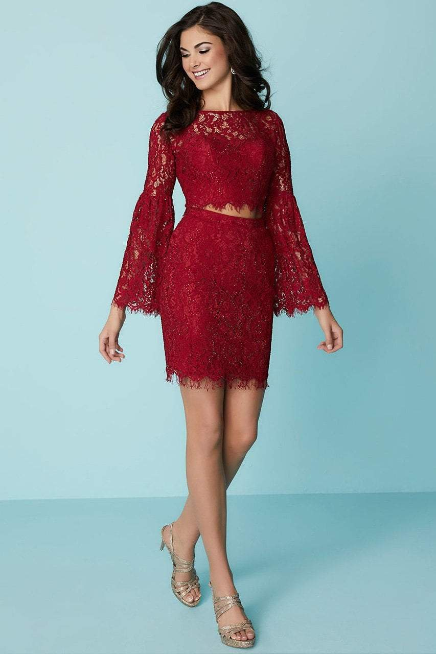 Tiffany Homecoming - 27185 Bell Sleeve Illusion Floral Lace Two-Piece Dress from Tiffany Homecoming