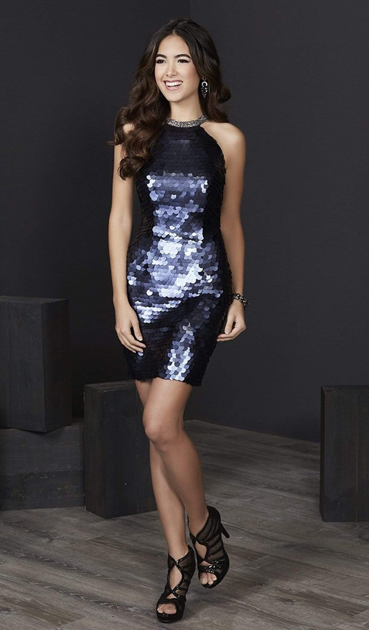 Tiffany Homecoming - 27195 Sequined High Halter Fitted Cocktail Dress from Tiffany Homecoming
