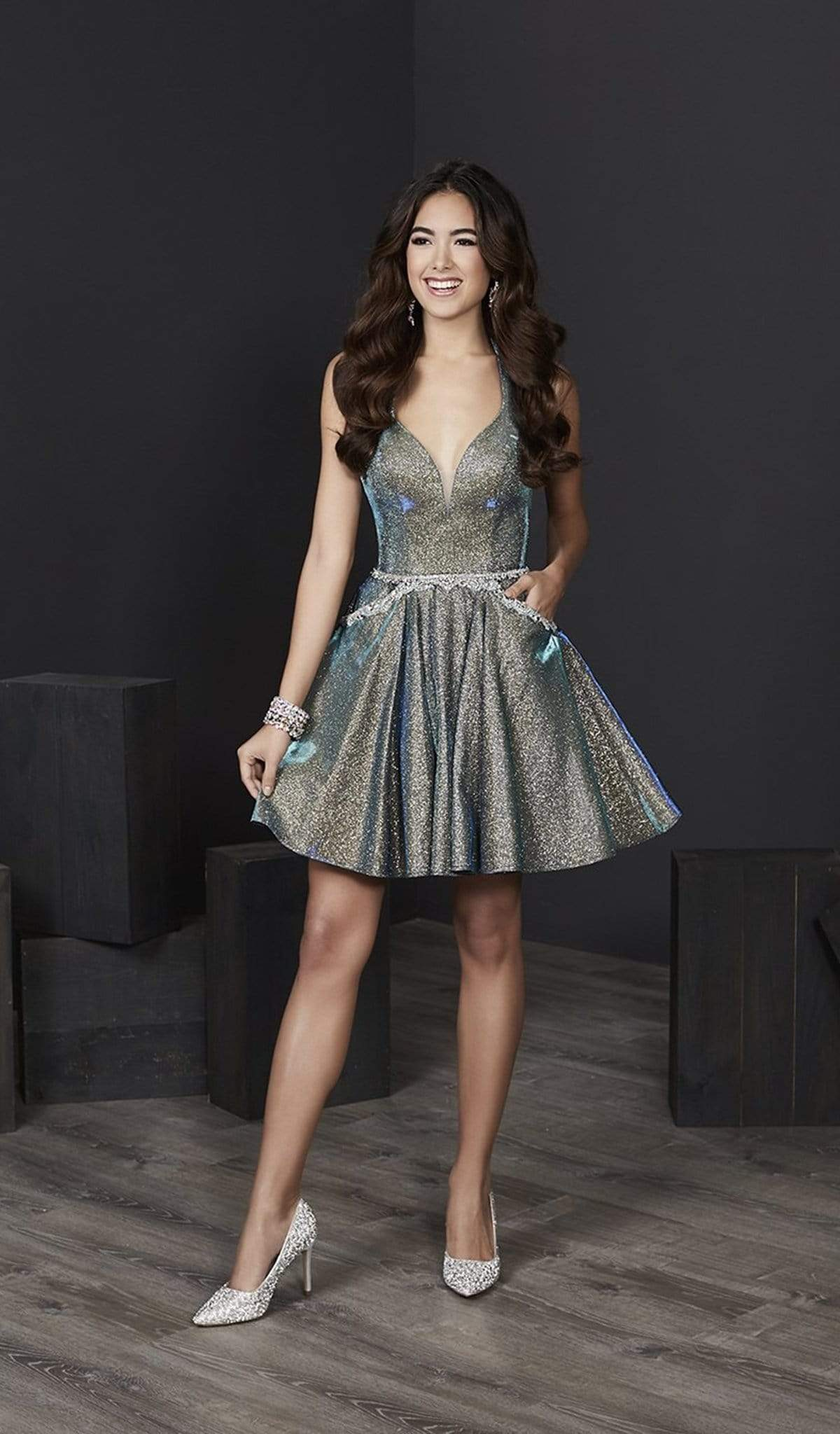 Tiffany Homecoming - 27206 Halter V-neck Sparkle Satin A-line Dress from Tiffany Homecoming
