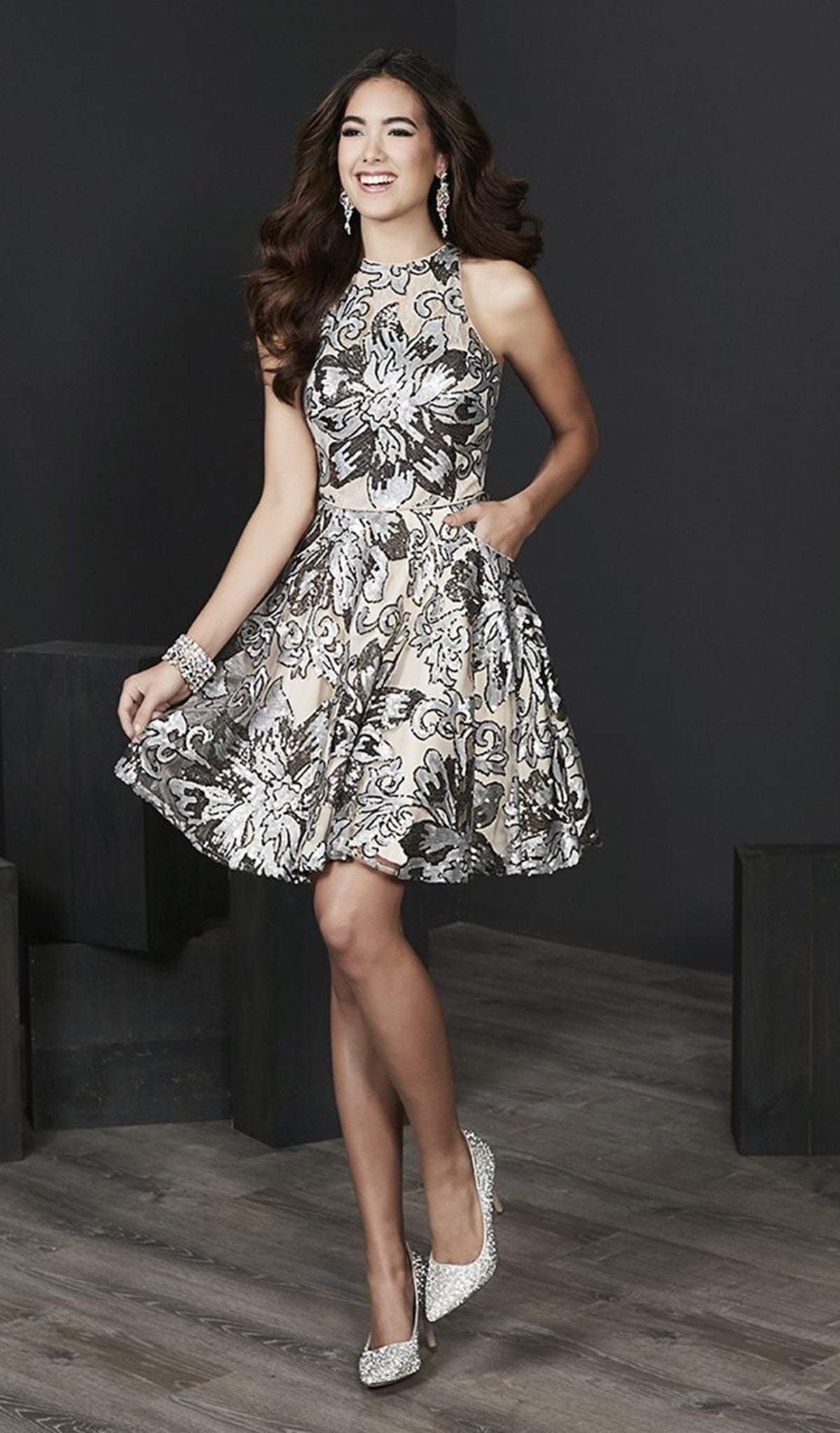 Tiffany Homecoming - 27217 Floral Sequined Halter Cocktail Dress from Tiffany Homecoming