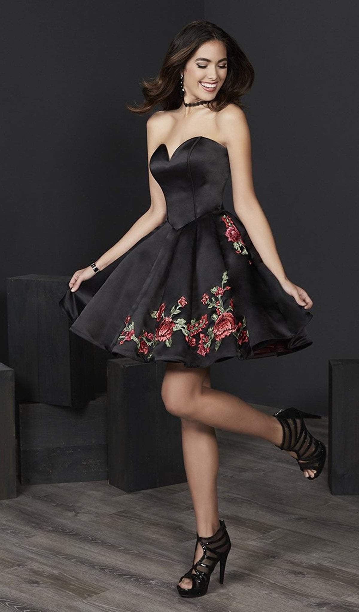 Tiffany Homecoming - 27226 Embroidered Floral Appliqued A-Line Dress from Tiffany Homecoming