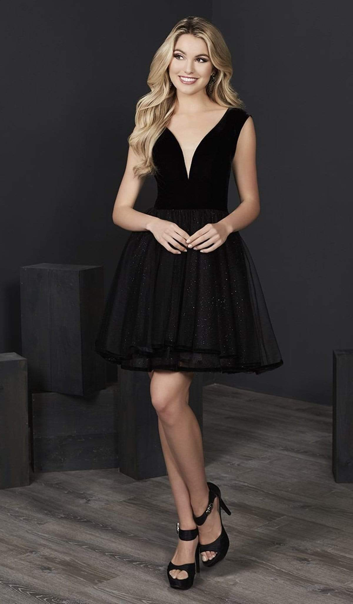 Tiffany Homecoming - 27228 Velvet Deep V-neck Tulle A-line Dress from Tiffany Homecoming