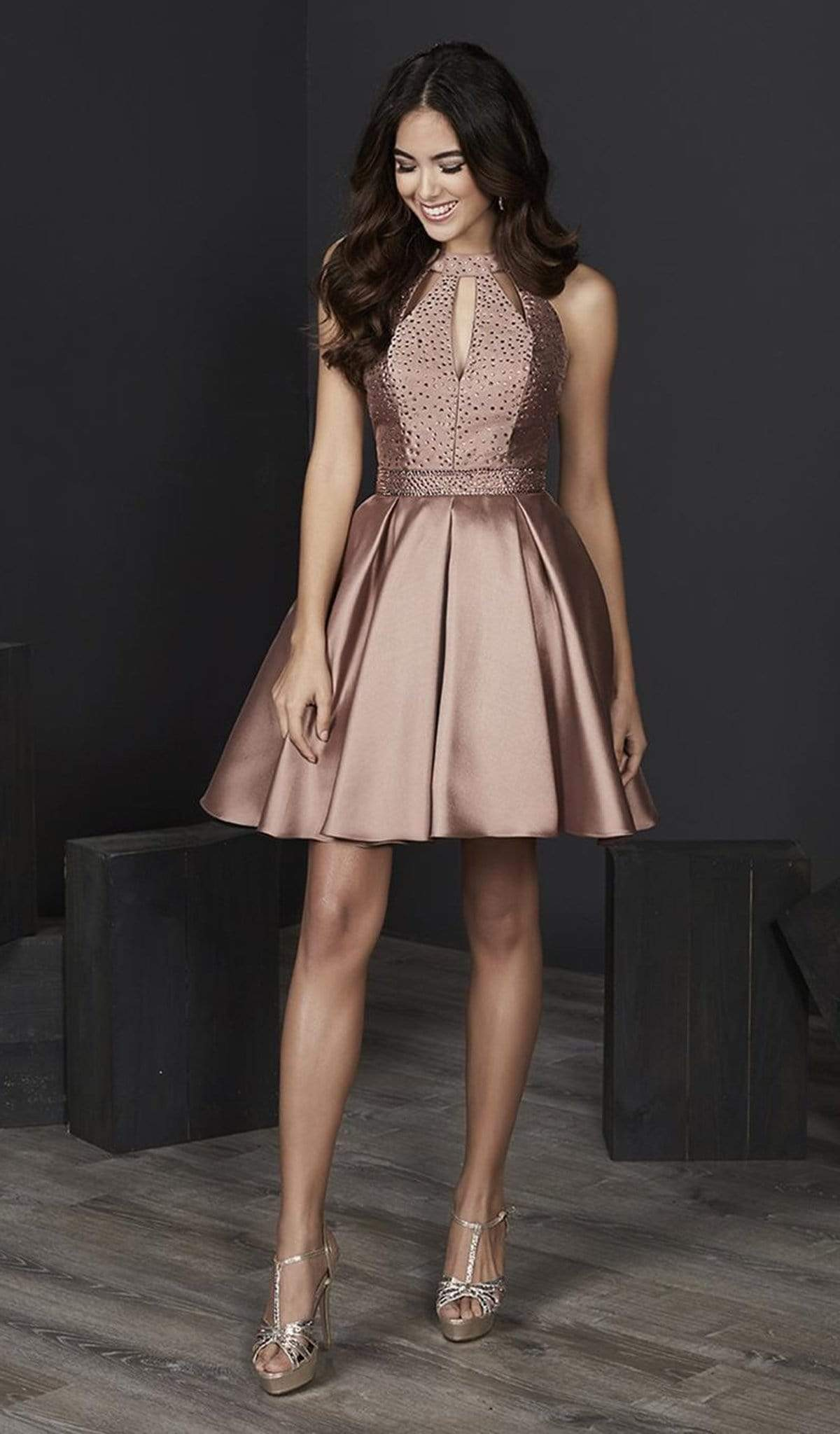 Tiffany Homecoming - 27230 Embellished Halter Mikado A-line Dress from Tiffany Homecoming